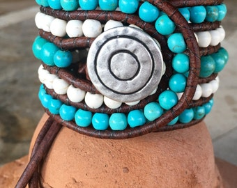 Beaded Cuff Bracelet with turquoise and white magnesite beads, 3mm leather cord and metal button closure.