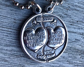 """Mizpah Medal Coin Necklace Set For Him and Her - Genesis 31:49 - Two Pieces each on 18"""" ball chain"""