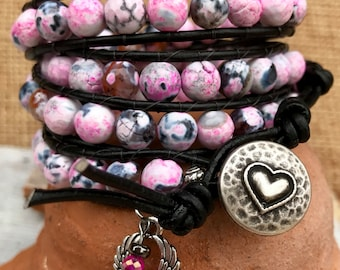 Four wrap leather bracelet in agate gemstone beads - pink, black, white and shades of gray. Free matching earrings! Cuff wrap.