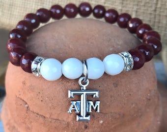 Texas A&M gemstone bracelet. Yoga bracelet with maroon and white jade gemstone faceted beads