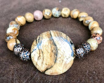 Picture jasper gemstone stretch yoga bracelet