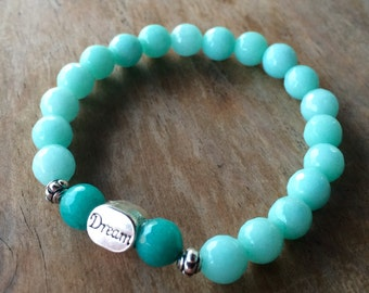 "Jade gemstone healing yoga bracelet with center ""Dream"" bead"