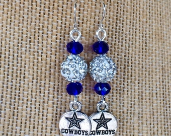 Dallas Cowboys themed earrings with blue glass faceted crystal and silver rhinestone pave disco beads