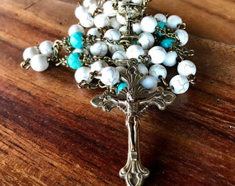Rosary, handmade in white turquoise and natural turquoise beads with ornate vintage bronze Italian crucifix and chalice center station