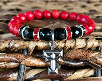Texas Tech spirit bracelet. Yoga bracelet with red dyed natural turquoise and black jade faceted beads w/ rhinestones and #TexasTech charm