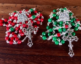 Christmas colors Rosary, handmade with jade faceted gemstone beads and nativity scene silver metal center and ornate crucifix