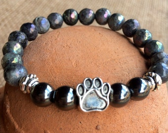 Pet lovers labradorite and hematite gemstone yoga bracelet with dog paw center bead.