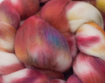 Hand Dyed BFLTussah Combed Top in Fireside 4oz