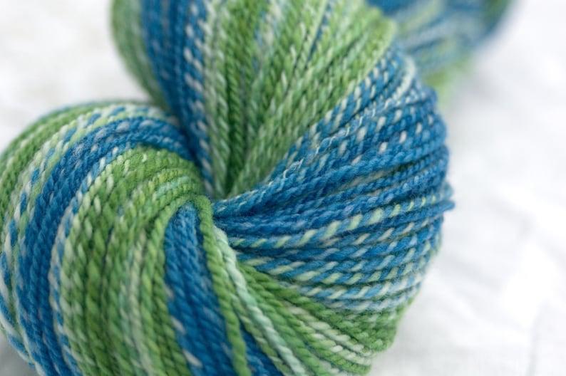 Hand Dyed Handspun Yarn 2 Ply Sportweight 359y in Sea Green Merino Wool