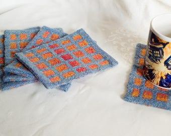 Handwoven Coaster, Mug Rug, Single Handspun Wool Coaster