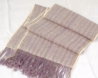 Handwoven Wool Scarf, Hand Dyed Handspun Wool, Blufaced Leicester Wool Scarf, Purple and Cream Scarf, Winter Scarf