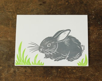 Single hand printed Bunny card, linocut, gray and green, Easter