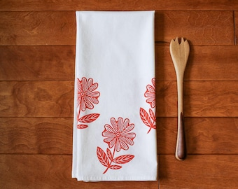 Flower Kitchen Towel, block print, red,  flour sack towel (Made to Order)