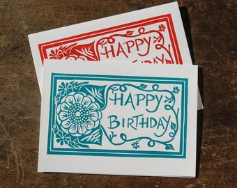 single hand printed card, happy birthday, floral, linocut, red or turquoise