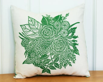 Hand Printed Pillow Cover with Insert, Garden Bouquet, 12x12, Home Decor, Green, Made to Order