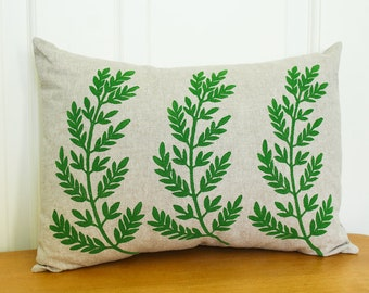 Hand Printed Pillow Cover with Insert, Fern, 12x16, Home Decor, Green, Made to Order