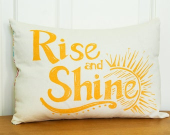 Hand Printed Pillow Cover with Insert, Rise and Shine, 12x16, Home Decor, Yellow