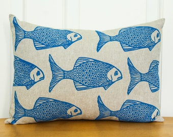 Hand Printed Pillow Cover with Insert, Fish, 12x16, Home Decor, Blue, Made to Order