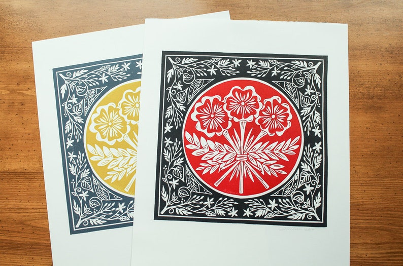 Original linocut print Boquet red and black or gold and image 0