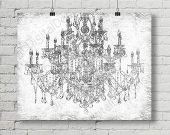 Printable Digital Silver Chandelier Wall Art Decoration, Chandelier Poster,  Chandelier Print, 16x20 INSTANT DOWNLOAD