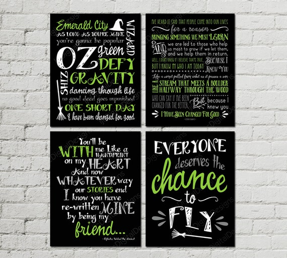 Printable Set Of Wicked Musical Quotes Subway Art Word