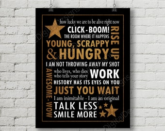 Hamilton Inspired Fan Art, Printable Hamilton Musical Quote Subway Word Art Poster, Young Scrappy Hungry, 11x14 and 8x10 INSTANT DOWNLOAD
