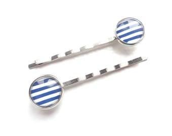 Nautical Hair Pins, Blue Hair Pins, White Hair Pins, Metal Hair Pins, Silver Hair Pins, Vintage Style Hair Pins, Gift For Her