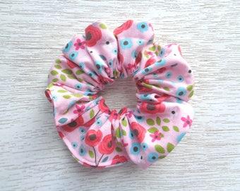 Pink Scrunchie, Hair Scrunchie, Floral Scrunchie, Flower Scrunchie, Hair Accessory, Hair Tie, Hair Elastic, Women Scrunchie, Girl Scrunchie