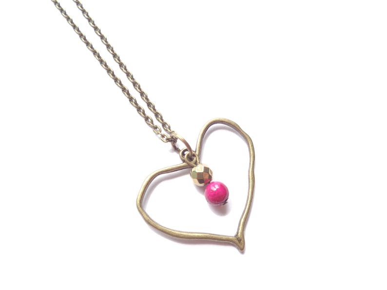 Gift For Women Heart Necklace Pink Necklace Boho Necklace Bronze Necklace Minimalist Necklace Minimalist Jewelry Short Boho Necklace