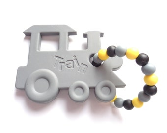 Baby Teething Toy, Silicone Teething Toy, Train Teething Toy, Baby Shower Gift, Food Grade Silicone, Gray Teething Toy, Yellow Teething Toy