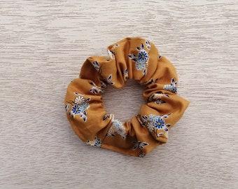 Hair Scrunchie, Yellow Scrunchie, Mustard Scrunchie, Flower Scrunchie, Floral Scrunchie, Woman Scrunchie, Girl Scrunchie, Gift Idea For Her