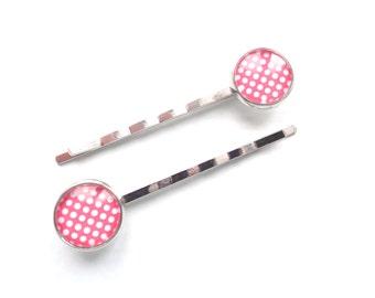 Polka Dot Hair Pins, Red Hair Pins, White Hair Pins, Bobby Pins, Silver Hair Pins, Girl Hair Pins, Woman Hair Pins, Gift For Her