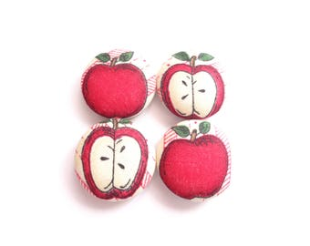 Apple Magnets, Red Magnets, Beige Magnets, Fridge Magnets, Handmade Magnets, Cute Magnets, Refrigerator Magnets, Gift for Hostess