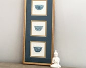 Chinese Drawing Blue White Porcelain Bowls Three Panels Artist Signed Chinoiserie Decor
