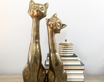 "Large Vintage Brass Cat Figurines 18"" Pair Gold Cat Statues Bookends Mid Century"