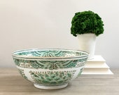 Chinese Porcelain Bowl Green White Hand Painted Pattern Chinoiserie Decor Imari Style