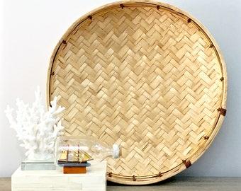 "Vintage Woven Basket Tray Wall Basket 18"" Herringbone Weave Round Shallow Bowl Natural Jungalow Boho Coastal Beach Decor"