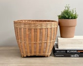 Vintage Wicker Bamboo Basket Planter Coastal Boho Decor
