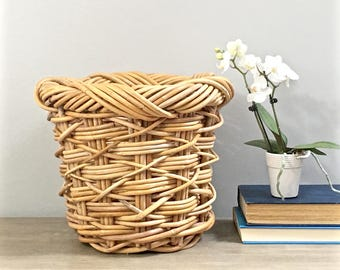 Vintage Woven Basket Planter Willow Twig Sturdy Jungalow Boho Decor