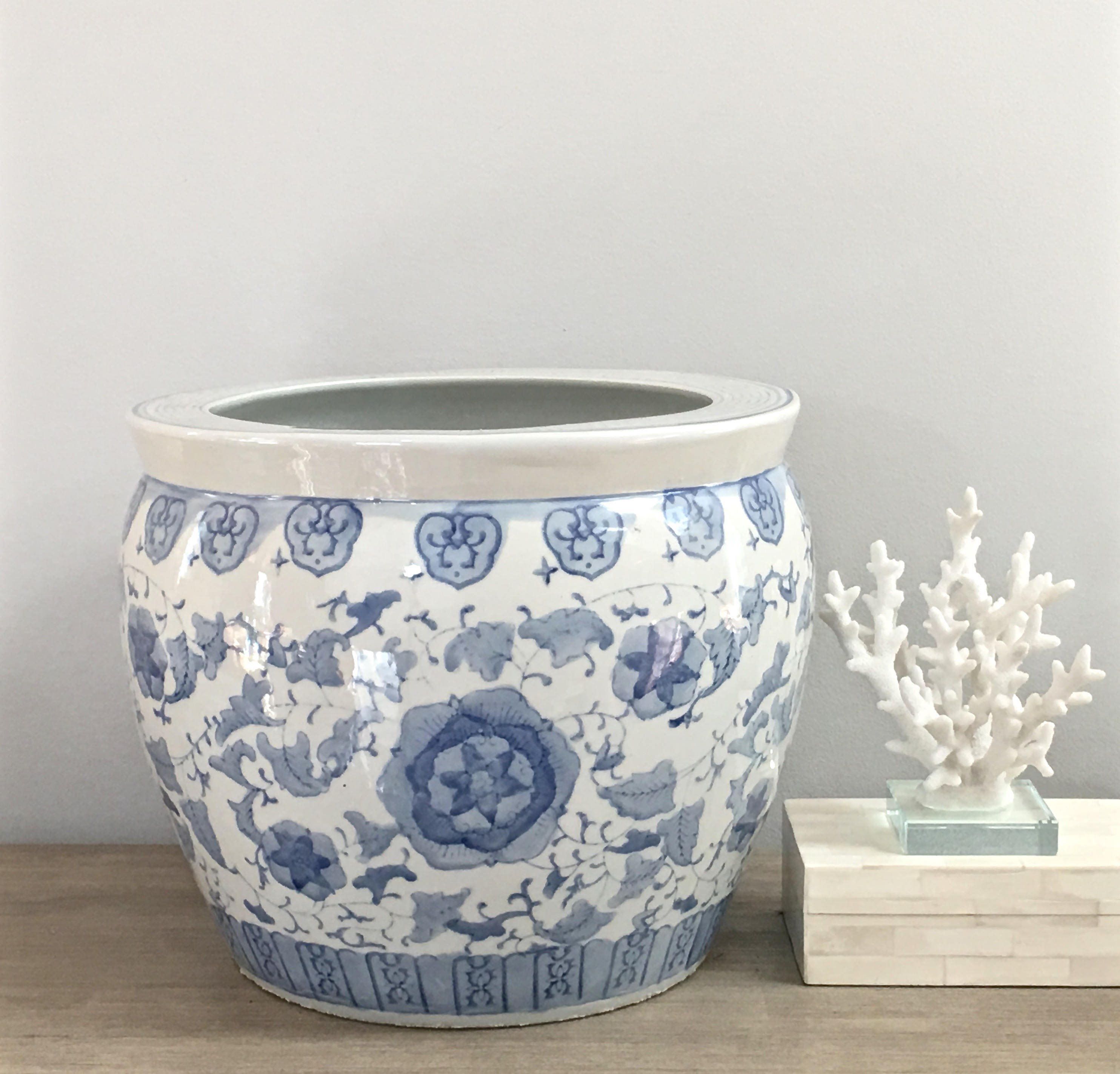 Large Chinese Fishbowl Planter Blue White Indoor Planter Chinoiserie