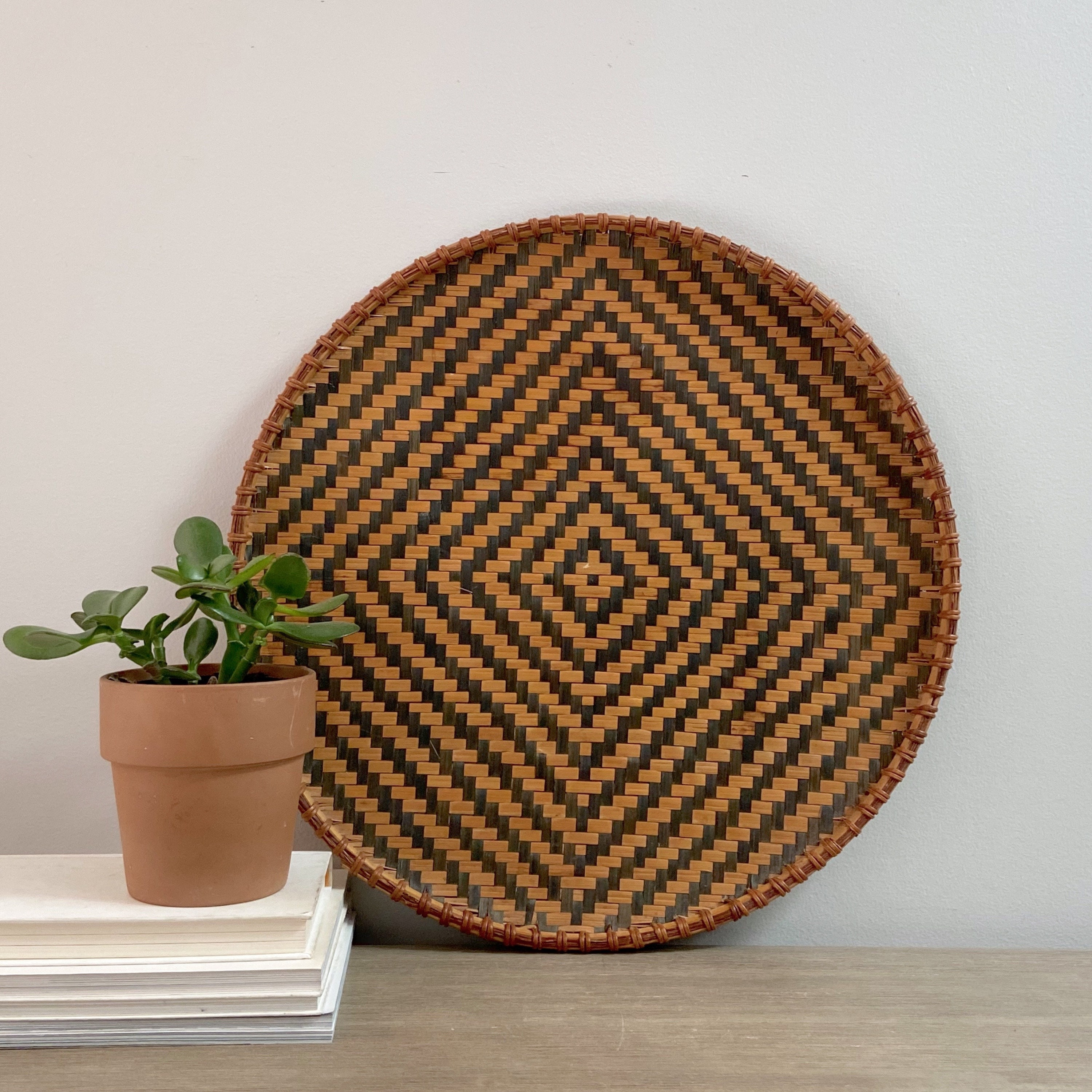 Reserved For Isabella Flat Round Wall Basket 19 Vintage Tribal African Woven Geometric Black Diamond Pattern Bohemian Decor