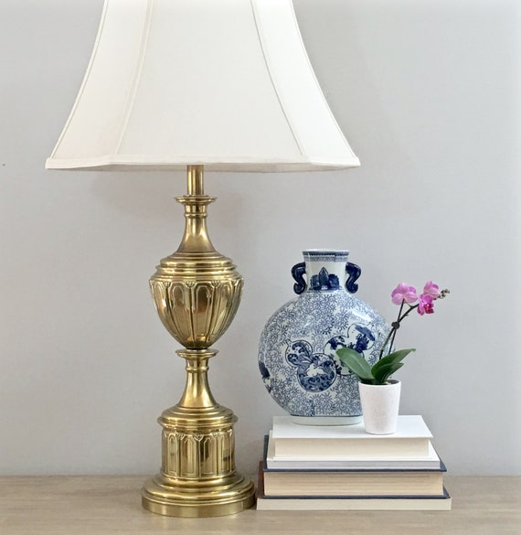 Vintage Stiffel Brass Lamp Trophy Style Gold Table Lamp Heavy Etsy