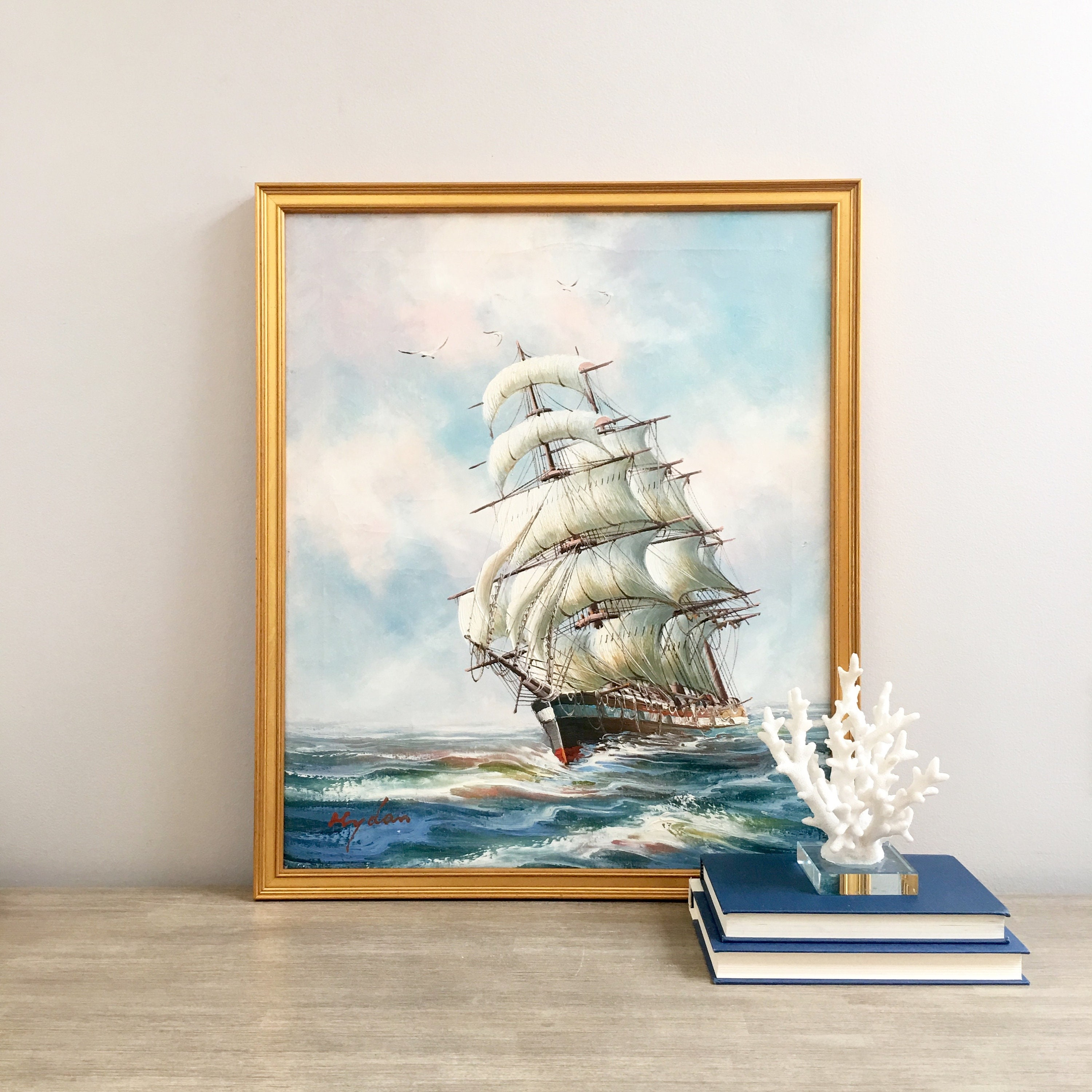 Reserved Original Signed Ship Oil Painting Nautical Ocean