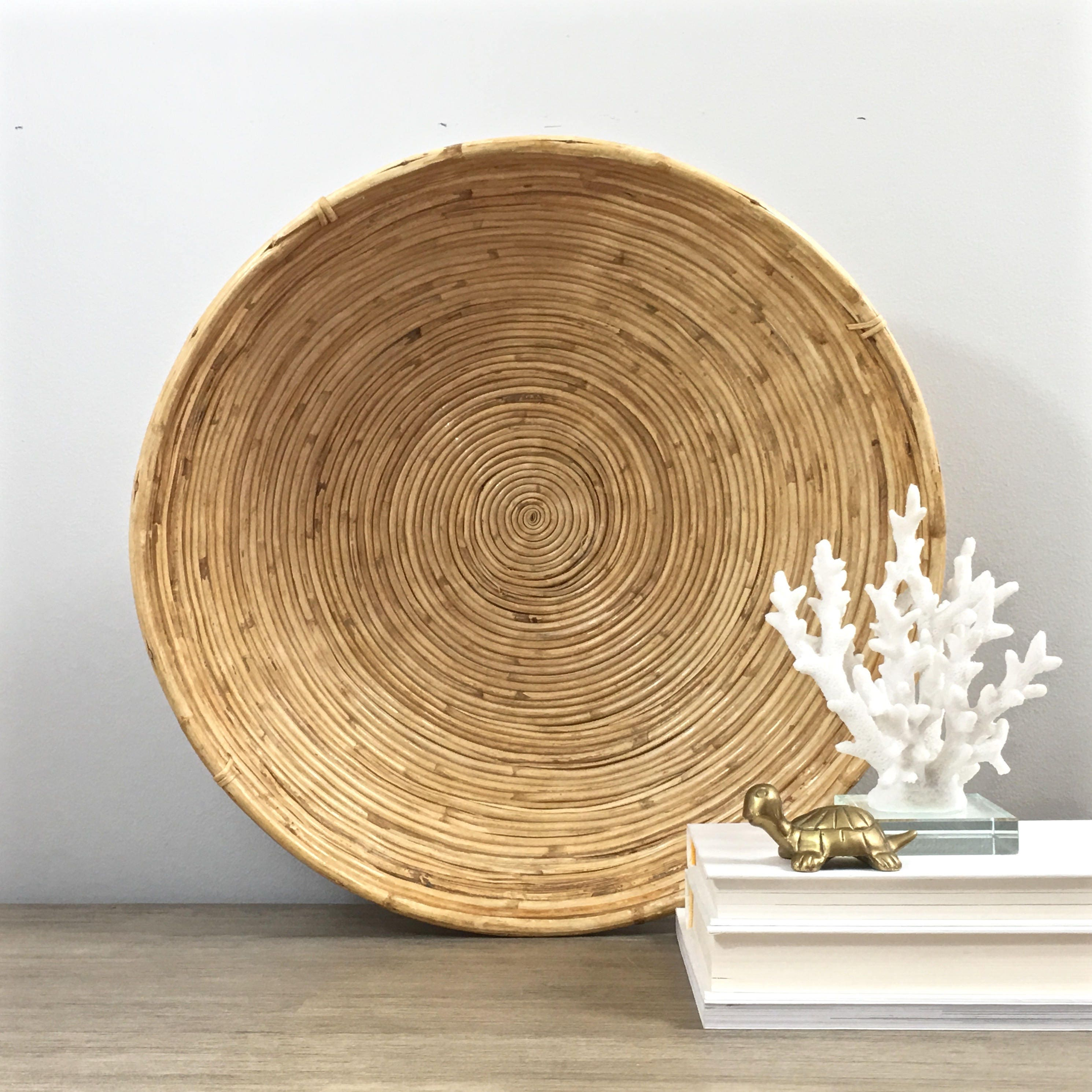 Coiled Bamboo Bowl 18 Solid Cane Wrapped Large Decorative