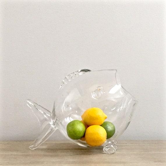 Blenko Clear Glass Fish Vase Bowl Hand Blown Coastal Living Etsy
