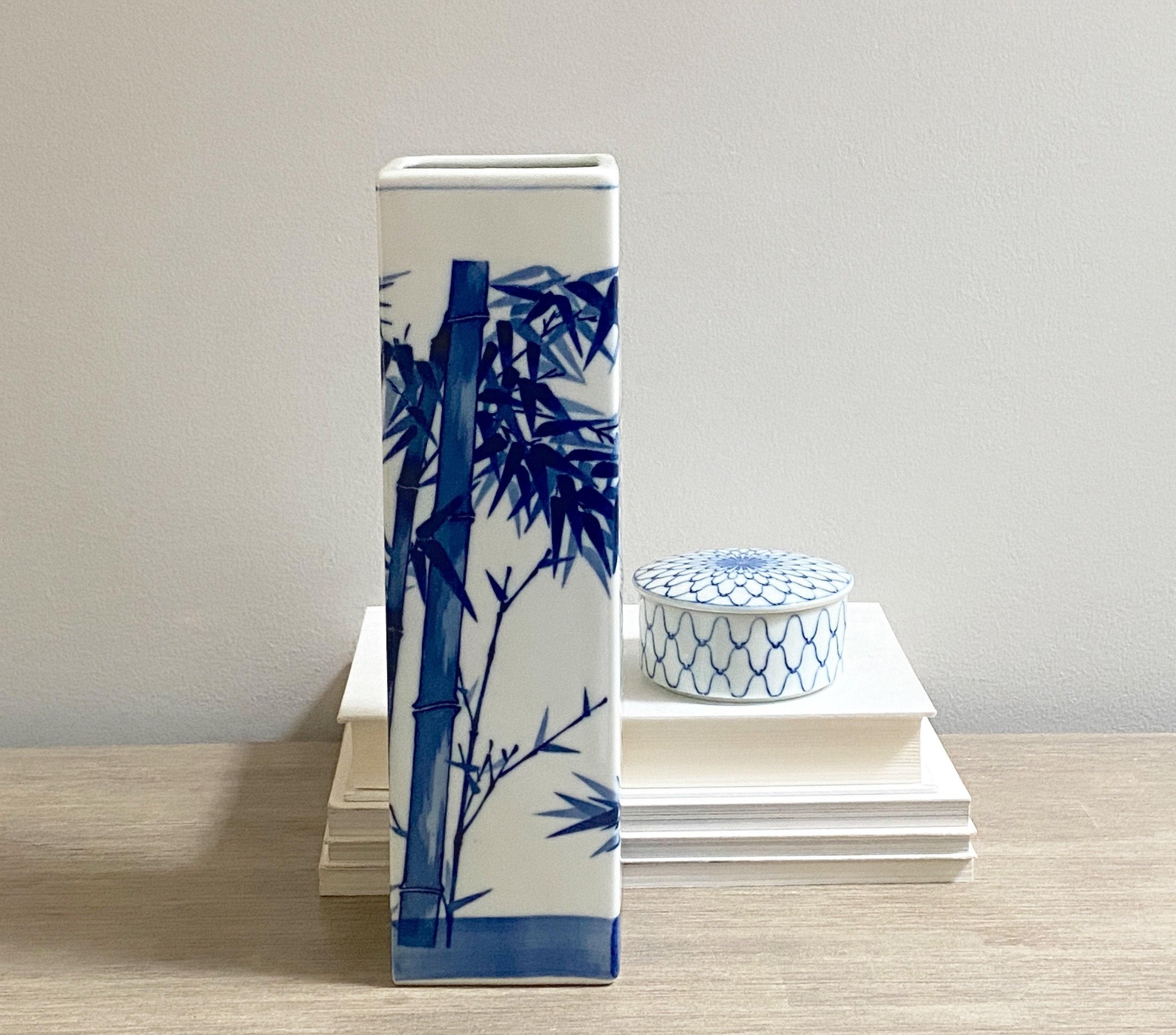 Asian Porcelain Vase Blue White Bamboo Stalk Design Japanese Decor