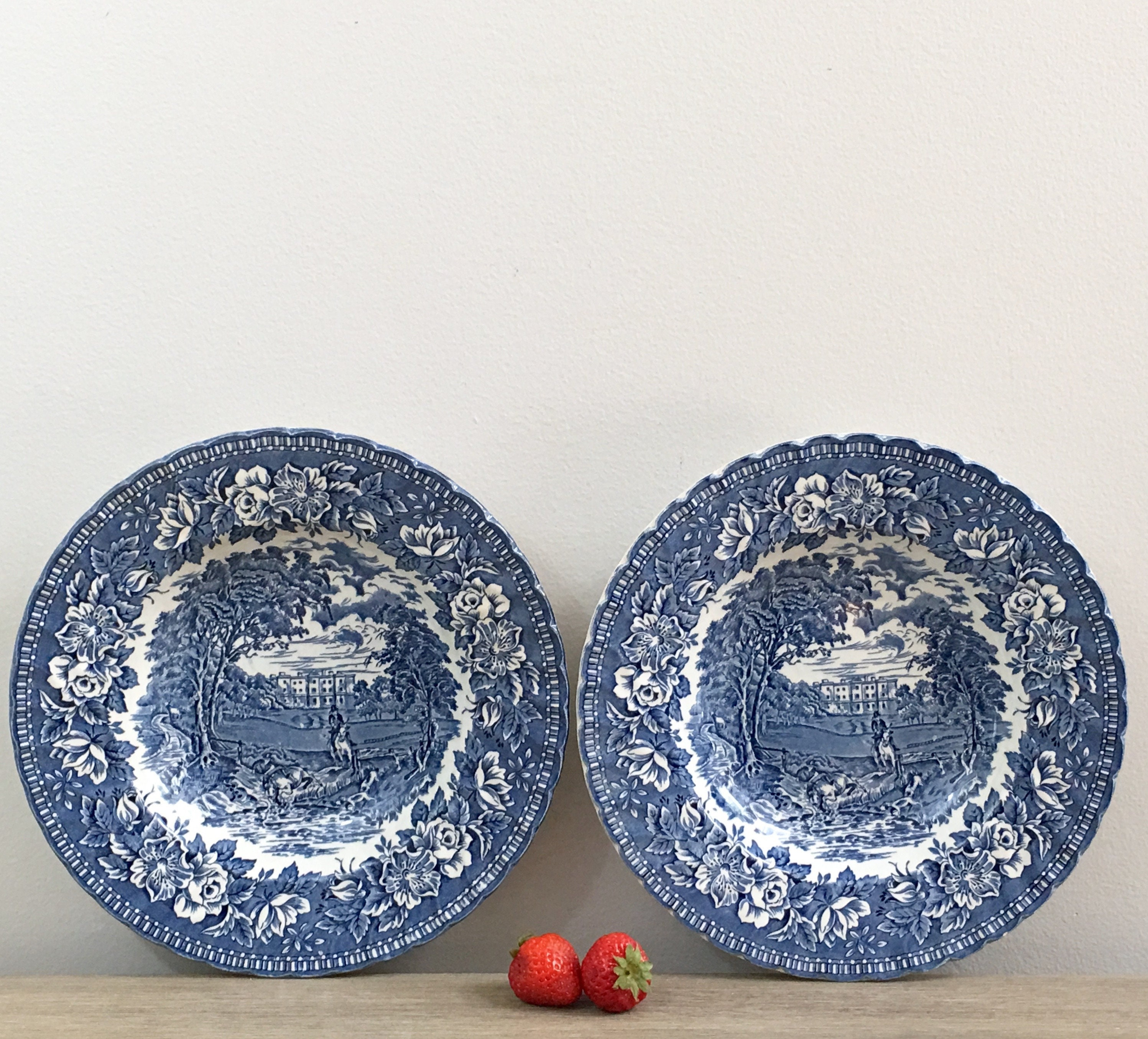 English Ironstone Bowls H Aynsley and Co Blue Heritage Large Rim ...