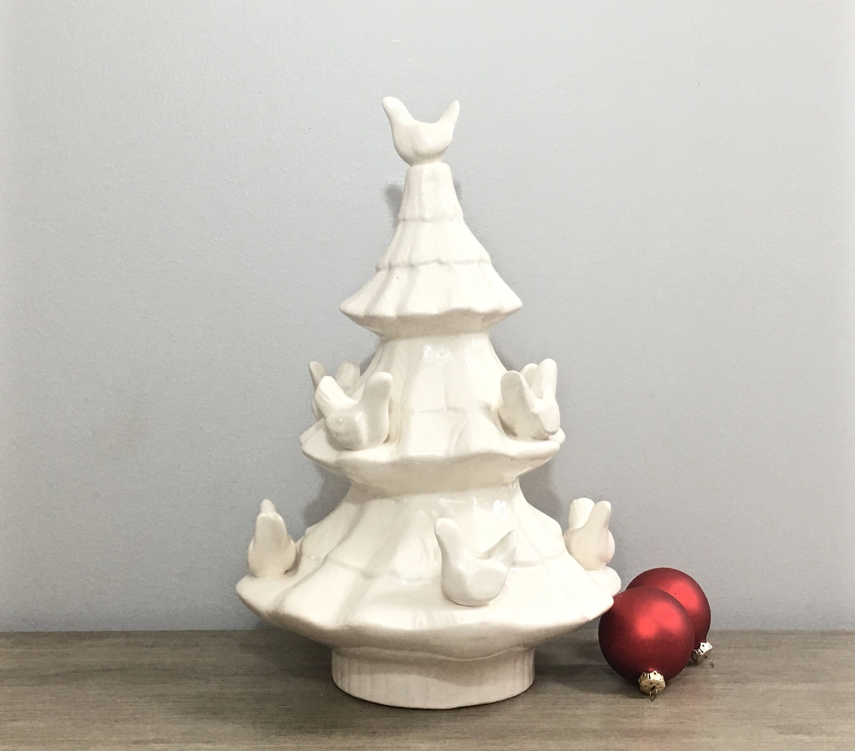 Vintage White Ceramic Christmas Tree.Vintage White Ceramic Christmas Tree Candle Holder Candelabra
