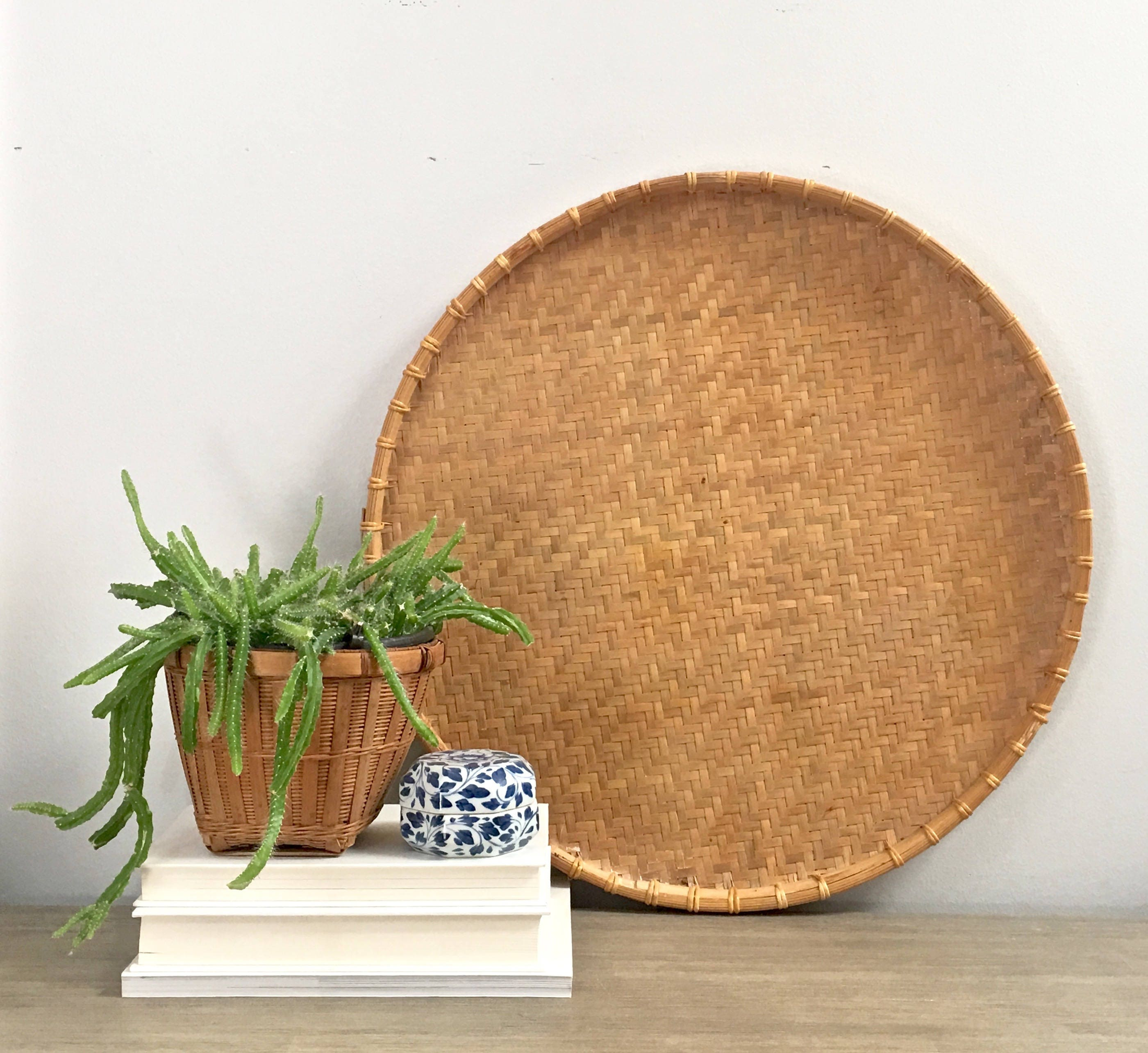 Large Vintage Woven Wall Basket Tray 20 Vintage Round Winnowing Bamboo Basket Coastal Tropical Boho Decor