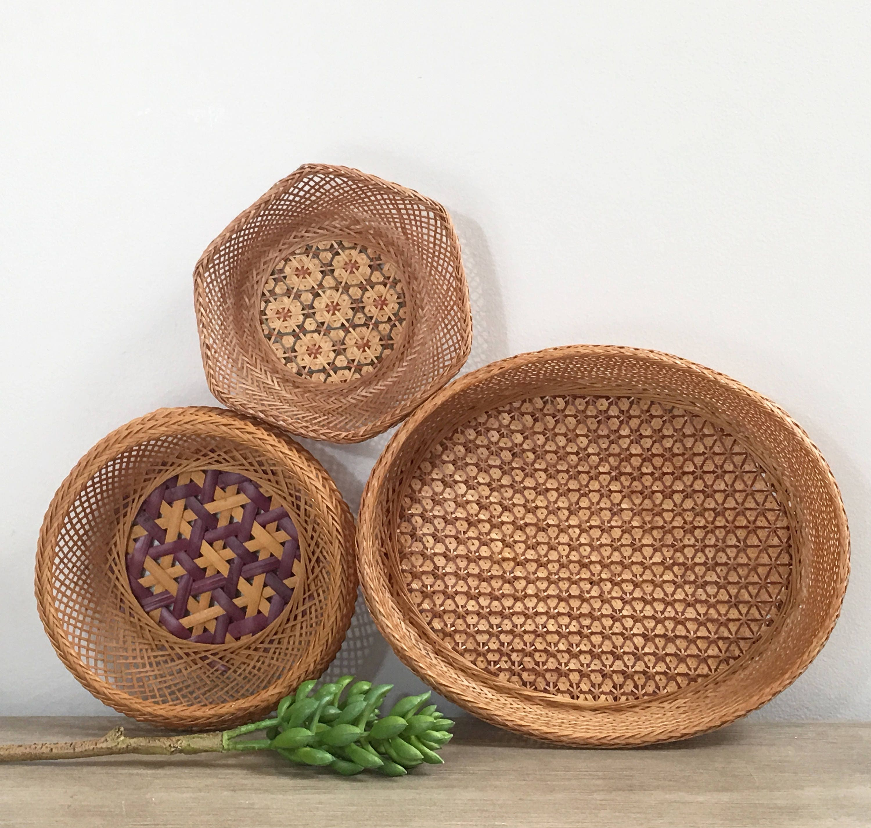 Vintage Woven Wall Basket Set Of Three Delicate Hand Woven Bamboo Bohemian Jungalow Decor